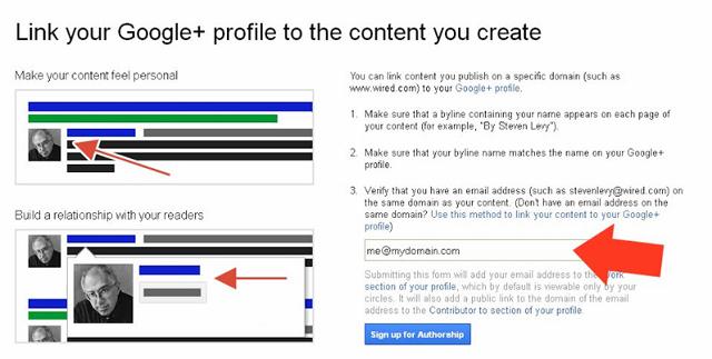Google authorship verification by email